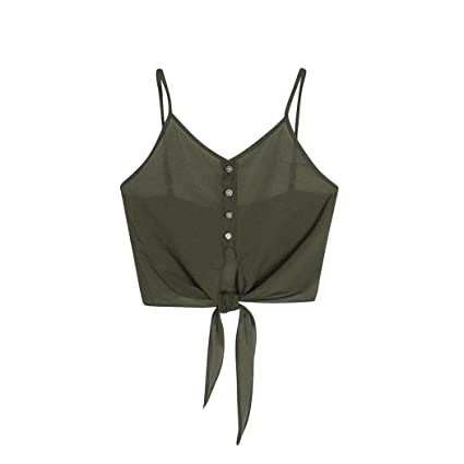 Tops,❤️Ba Zha Hei Camiseta sin mangas de encaje con botones para mujer Ropa