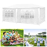 HG 3x6m marquee pavilion white polyethylene steel construction garden beach party tent waterproof incl. 6 removable sides Camping Festival as a shelter and tarpaulin