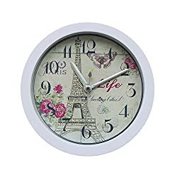 DIGOOD Modern Mute Eiffel Tower Pattern Bell Desk Digital Alarm Clock (White)