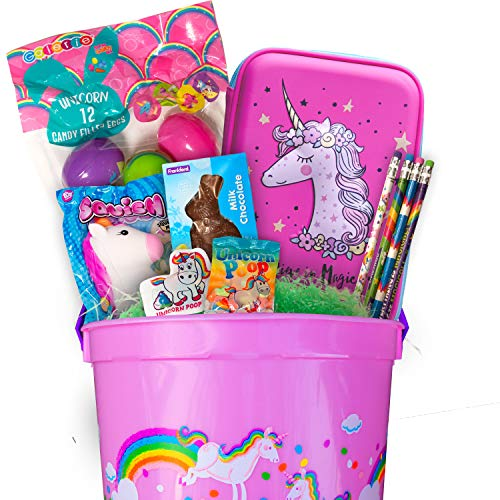 Easter Basket Gift Unicorn Themed Fun Gifts Candy Toys]()