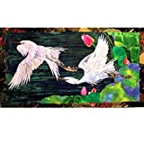 OOAK Textile Wall-hanging Art Quilt Tapestry, White Egrets, Feng Shui Decor, Wedding New Home Gift
