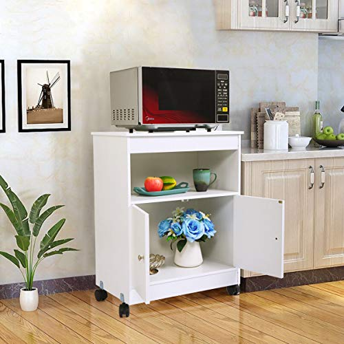 (Thegreatshopman Rolling Wooden Storage Cabinet Kitchen Microwave Cart)