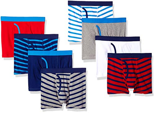 Amazon Essentials Big Boys' 8-Pack Boxer Brief, Stripes, M (8) -