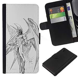 Planetar® Modelo colorido cuero carpeta tirón caso cubierta piel Holster Funda protección Sony Xperia Z4v / Sony Xperia Z4 / E6508 ( Archangel Demon Wings Angel Sketch )