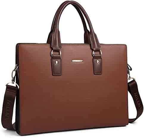 BOSTANTEN Leather Lawyers Briefcase Shoulder Laptop Business Slim Bags for Men & Women