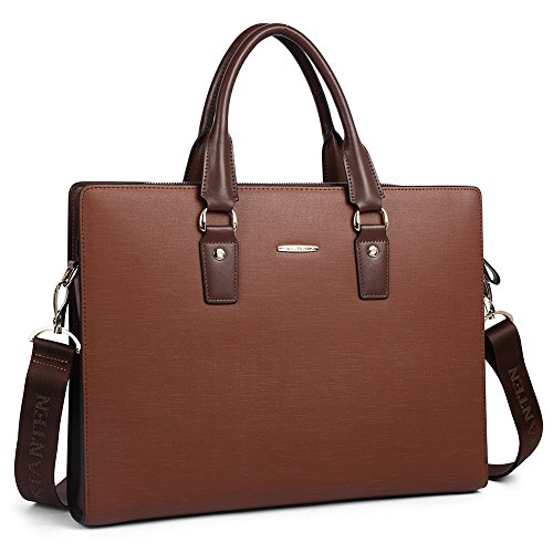 BOSTANTEN Leather Lawyers Briefcase Shoulder Laptop Business Slim Bags for Men & Women Coffee