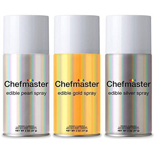 Chefmaster by US Cake Supply Edible Spray Food Coloring 3 Color Kit in 2-Ounce Cans - Gold, Silver, Pearl