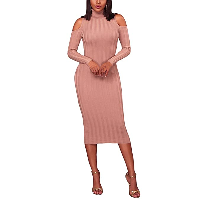 Women's Cold Shoulder Turtleneck Sweater Dress | Womens Midi Length Dresses