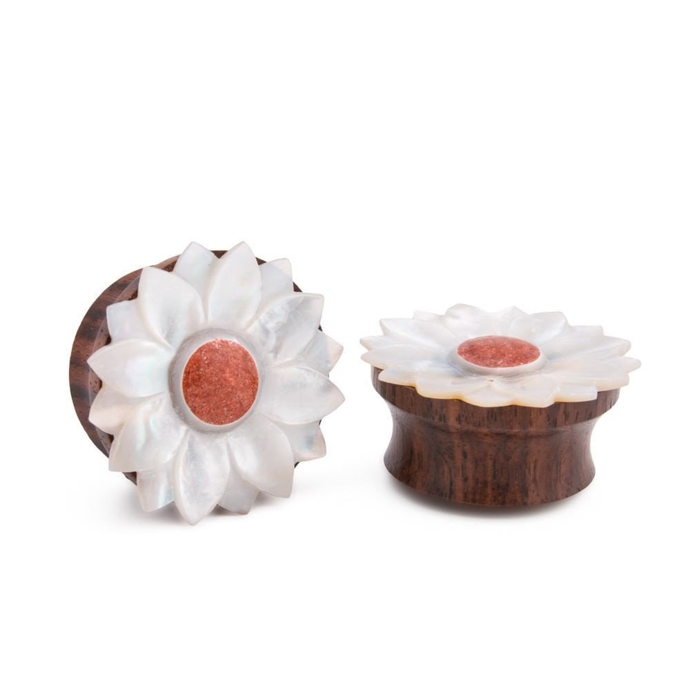 Elementals Organics Sono Wood Plug for Ear Coral Inlaid Mother of Pearl Flower