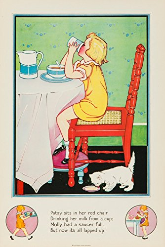 National Dairy Council: Nursery Rhymes (eating) Vintage Poster USA c. 1930 (24x36 Giclee Gallery Print, Wall Decor Travel Poster)