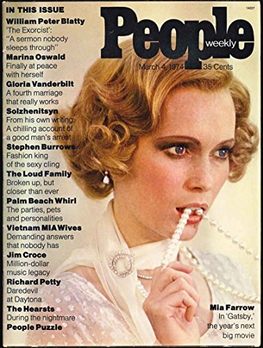Book cover from People Weekly Magazine (First Issue) March 4, 1974 (Mia Farrow Gatsby cover) by Cathy Rigby