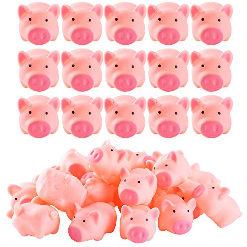 ABOSS 50 Pieces Mini Rubber Pigs Bulk for Baby Bath Toy Gift ()