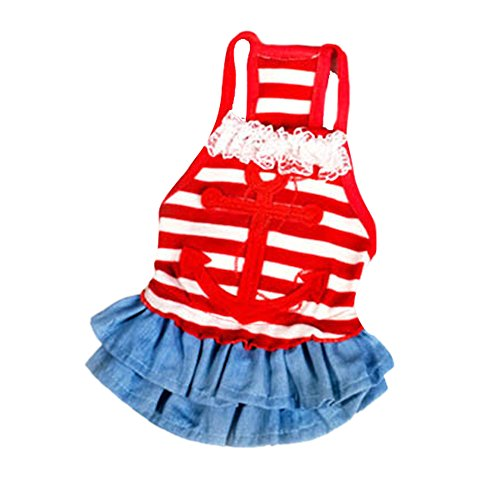 Silvercell Puppy Dog Sailor Style Clothes Stripe Sling Dress Red M