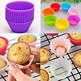Orland 12 PCS 2 Inch Silicone Cupcake Liners/Baking Cups Microwave Ovens Silica Gel Round Mould Baking Mini Cake Mould Cups 6 Colors