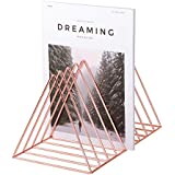 Simmer Stone Rose Gold Magazine Holder, Desktop File Sorter Organizer, 9 Slot Triangle Shape, Size 12.2L X 7W X 6.9H