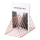 Simmer Stone Magazine Holder & File Oragnizer, 9 Slot, Triangle Shape, Size 12.2'' L X 7'' W X 6.9'' H, Rose Gold/Copper