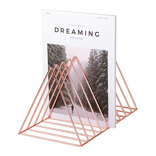 "Simmer Stone Rose Gold Magazine Holder, Desktop File Sorter Organizer, 9 Slot Triangle Shape, Size 12.2""L X 7""W X 6.9""H"