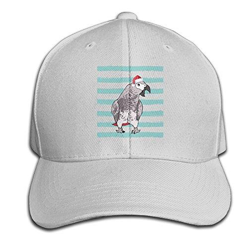 Wiyeres Christmas African Grey Parrot Snapback Sandwich Cap Ash Baseball Cap Hats Adjustable Peaked Trucker Cap