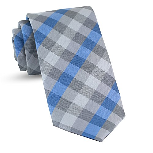 Blue Plaid Tie - Handmade Plaid Ties For Men Skinny Woven Blue Slim Gingham Mens Ties: Thin Tie & Necktie, Stylish Neckties For Every Outfit