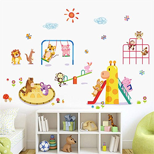 Zoo Hippo (BIBITIME Jungle Animal Playground Wall Decals Lion Kangaroo Tiger Pig Horse Koala Moneky Rabbit Hippo Butterflies Owl Vinyl Sticker for Nursery Bedroom Kids Room Decor Art Mural DIY)