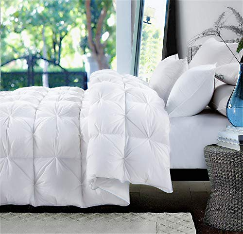 ROSECOSE Luxurious Heavy Goose Down Comforter Queen Size Duvet Insert Pinch Pleat 1200 Thread Count 750+ Fill Power 100% Cotton Shell Hypo-allergenic Down Proof with Tabs (Queen,White,Pinch Pleat)