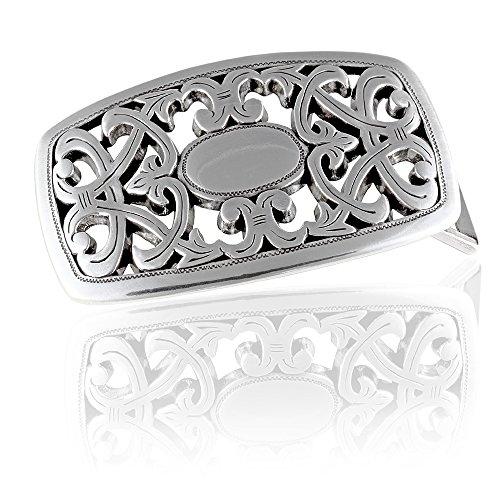 FREDERIC HERMANO Gürtelschnalle Buckle 40mm Metall Silber Geschwärzt - Buckle Avignon - Dornschliesse Für Gürtel Mit 4cm Breite - Silberfarben Geschwärzt