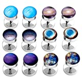 00g space - JOVIVI 12pc Mens Womens Stainless Steel Galaxy Space Universe Ear Stud Earrings/Fake Plug Gauges, 0G