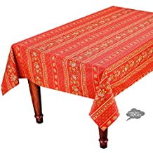 """58x84"""" Rectangular Lisa Red Cotton Coated Provence Tablecloth by Le Cluny"""