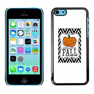 X-ray Impreso colorido protector duro espalda Funda piel de Shell para Apple iPhone 5C - Halloween Pumpkin Orange White