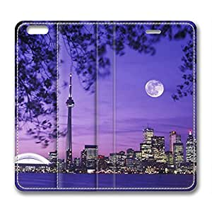 Toronto Skyline Night Moon Scenery Canada DIY Leather iphone 6 plus Case Perfect By Custom Service