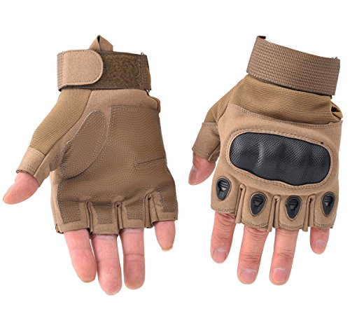 HIKEMAN Tactical Army Military Rubber Hard Knuckle Outdoor Full Finger Gloves for Men Fit for Cycling Motorcycle Hiking Camping Airsoft Paintball (Tan Fingerless, X-Large) …