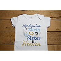 Embroidered Bodysuit Handpicked for Earth by my Sister in Heaven Baby Shower Gift Hand Picked Bodysuit Blue-1