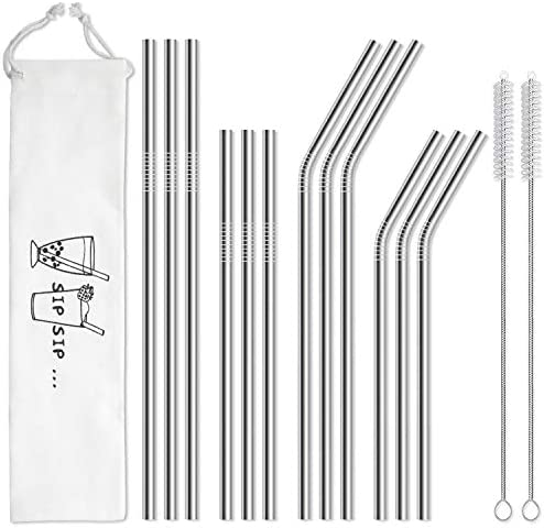 Hiware 12 Pack Stainless Straws Cleaning