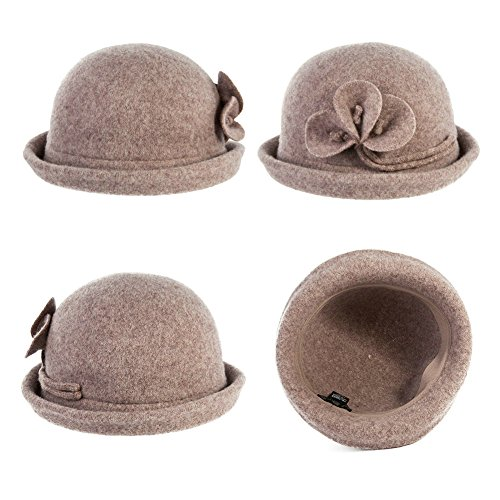 1b6f5018b11f9 Siggi Warm Wool Felt Cloche Hats Vintage Bowler Derby Hat for Women Winter  Camel