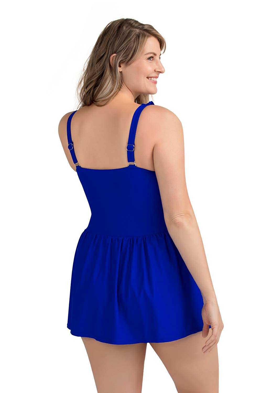 PERONA Plus Size Swimwear Tummy Control Swimdress Size12-28 One Piece Swimsuit with Flared Skirt for Women