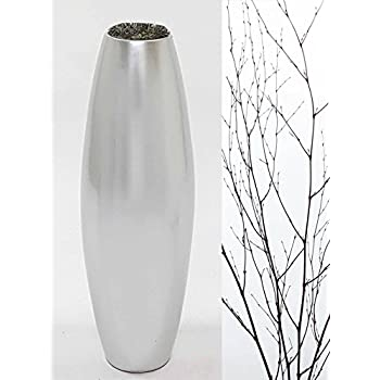 """Green Floral Crafts 36"""" Lacquer Bamboo Cylinder Floor Vase, Branches & Botanicals - Lacquer Oyster-Silver"""