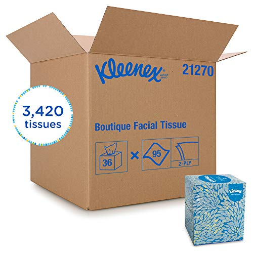 (Kleenex Professional Facial Tissue Cube for Business (21270), Upright Face Tissue Box, 36 Boxes / Case, 95 Tissues /Box, 3,420 Tissues / Case)