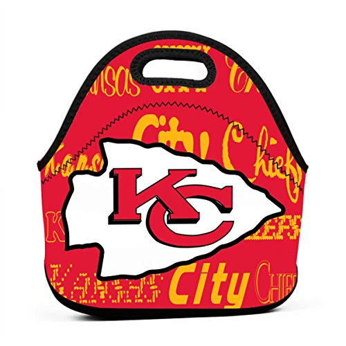 Weckim Kansas City Chiefs Classic Neoprene Portable Lunch Bag, Portable Lunch Bag, Travel, Picnic, School, Work Office