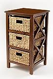 eHemco 3 Tier X-Side End Table/Storage Cabinet 3 Baskets (Walnut)