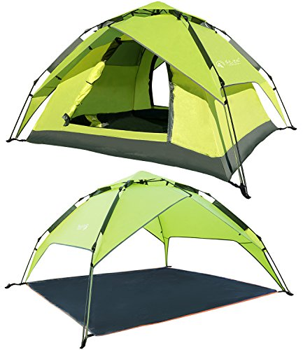 REDCAMP 2 3 Person Automatic Tent for Camping, Instant Waterproof Tent, 3 Season Two-function Camping Tents with Sun Shelter,Apple Green