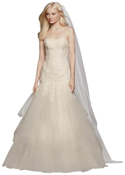 Davids Bridal Oleg Cassini Strapless Mermaid Wedding Dress Style CWG737 Ivory
