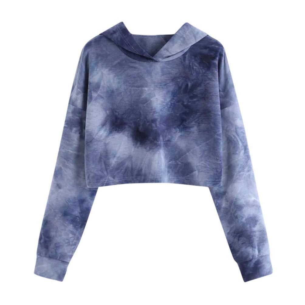 Women Girl Crop Hoodie Tie Dye Patchwork Sweatshirt Long Sleeve Sport Jumper Top(Dark Blue,XX-Large