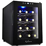 Kalamera 12 Bottle Freestanding Single Zone Wine Cooler Refrigerator with 3 Removable Shelves Electronic Controls