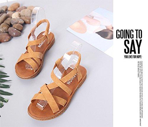 de Shoes Décontractée Sandales Marron Mode Printemps À Plate Plage Été Cuir Chaussures Rétro Talon Femmes HawUzqF0q