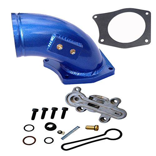 Fuel Pressure Regulator Kit Ford F-Super Duty 6.0 ALL 3C3Z-9T517-AG 3C3Z9T517AG with High Flow Intake Elbow for 2003 - 2007 F250 F350 F450 F550 Excursion