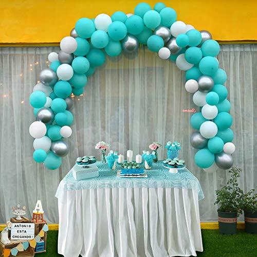 "Warmfits Balloon Garland Arch Kit 5"" & 10"" & 12"" Tiffany, White, Metallic Silver with Glue Dots, Garland Decorating Strip for Baby Shower Bridal Shower Engagement Wedding Birthday Anniversary"