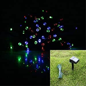 17M 55ft 100 LED Solar Powered String Lights Garden Decoration Christmas Wedding Light RGB Mixed Color (Red Green Red)