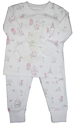99c2b7e10 Kissy Kissy Baby-Girls Infant Parisian Stroll Print Long Pajamas Set-White  with Pink