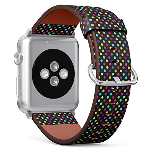 Compatible with Apple Watch Serie 4/3/2/1 (Big Version 42/44 mm) Leather Wristband Bracelet Replacement Accessory Band + Adapters - Polka Dot