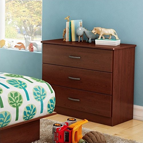 South Shore Libra Collection 3-Drawer Dresser, Royal Cherry Metal Handles in Pewter Finish